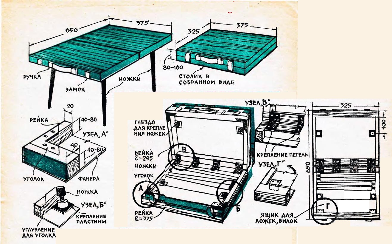 Схема с размерами раскладного столика
