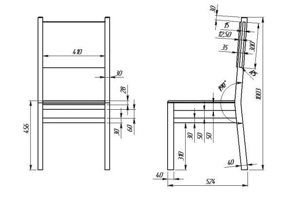 Деревянный стул чертежи