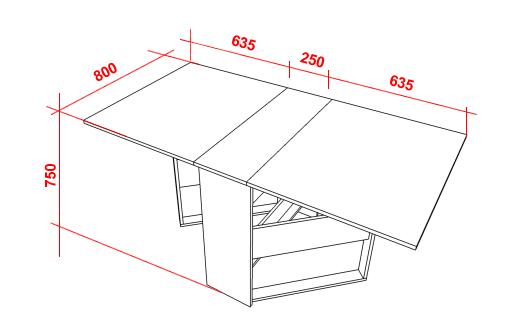 Чертеж столика-трансформера