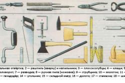 Инструменты для сооружения деревянного табурета