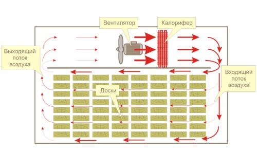 Схема сушки древесины в