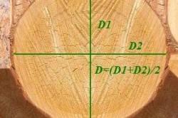 Измерение  диаметров в сечении бруса