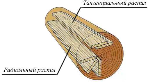 Схема распила ствола дерева