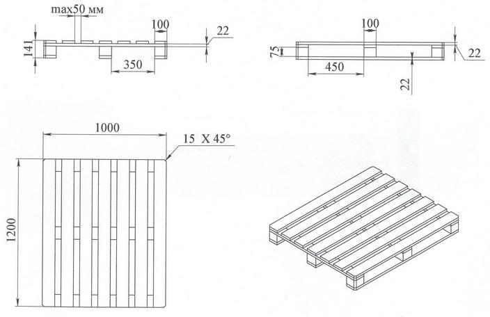 Схема деревянного поддона с