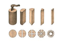 Схематичное изображение процесса заготовки клепки
