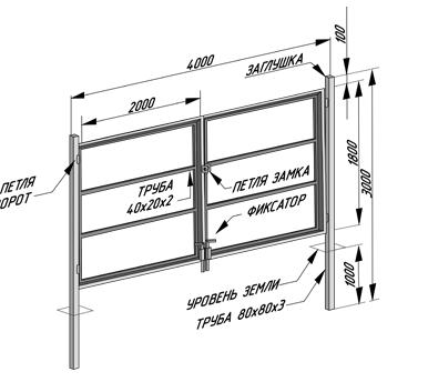Чертежи и схемы ворот из профнастила ворота метало профиль