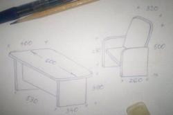 Чертеж детского стола и стула