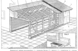 Схема каркасного гаража-пристройки