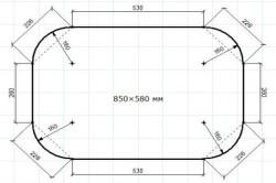 Схема размеров раздвижного стола