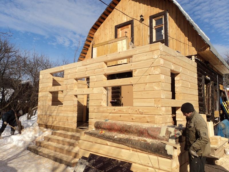 Пристройка из бруса к деревянному дому своими руками