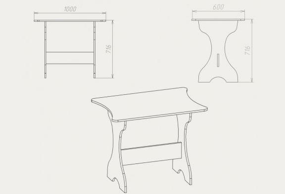Чертеж кухонного стола