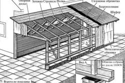 Схема гаража-пристройки из бруса