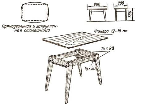 Кухонный стол из дерева своими руками чертежи и схемы сборки