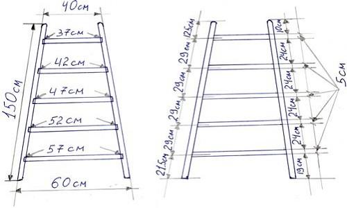 Чертеж лестницы для изготовления стремянки