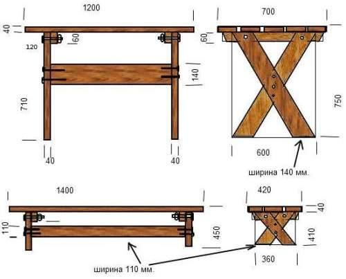 Стол из дерева для дачи своими руками