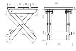 Схема раскладного стула без спинки